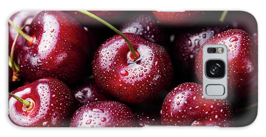Cherry Galaxy Case featuring the photograph Fresh Ripe Black Cherries Background by Anna Pustynnikova