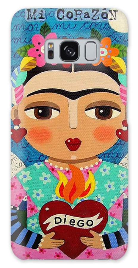 Frida Galaxy S8 Case featuring the painting Frida Kahlo Angel And Flaming Heart by LuLu Mypinkturtle