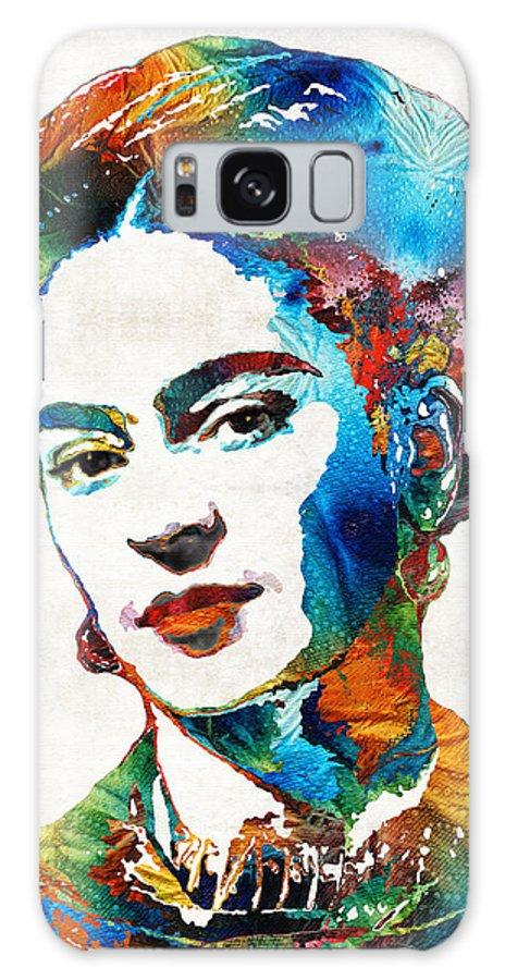 Frida Kahlo Galaxy Case featuring the painting Frida Kahlo Art - Viva La Frida - By Sharon Cummings by Sharon Cummings
