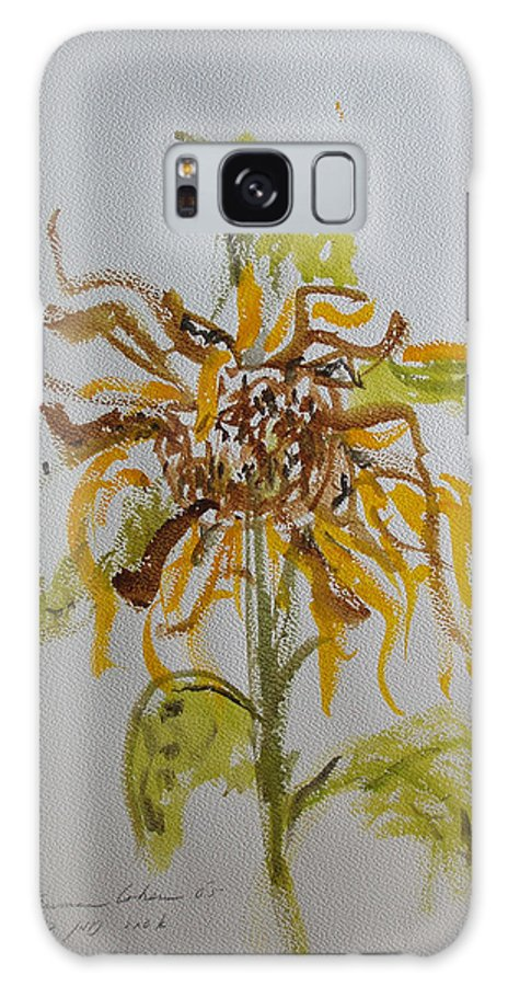 Sunflower Galaxy S8 Case featuring the painting Friendly Sunflower by Esther Newman-Cohen