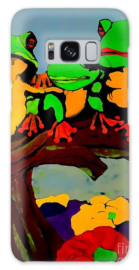 Frog Galaxy S8 Case featuring the painting Frog Family Hanging Out On A Limb by Saundra Myles