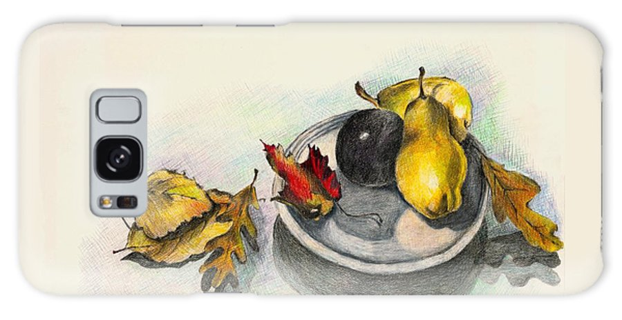 Fruit Galaxy S8 Case featuring the drawing Fruit And Autumn Leaves by Judy Swerlick