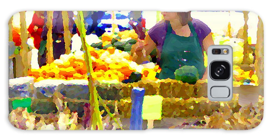 Markets Galaxy S8 Case featuring the painting Fruit And Vegetable Vendor Roadside Food Stall Bazaars Grocery Market Scenes Carole Spandau by Carole Spandau
