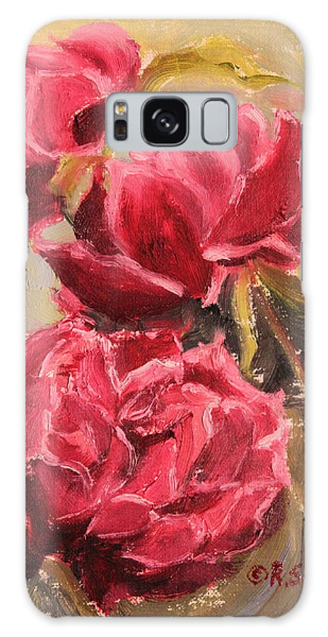 Ruth Soller Galaxy S8 Case featuring the painting Fuchsia Peonies by Ruth Soller
