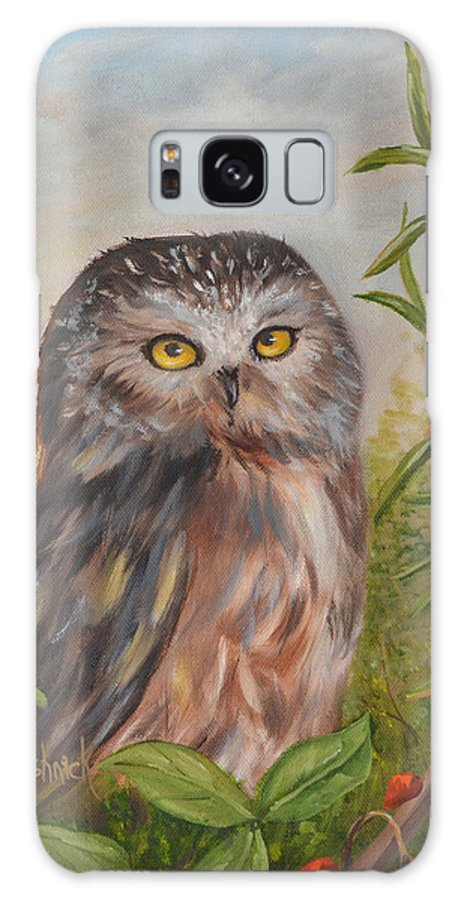 Owls Galaxy Case featuring the painting Fukuro by Anne Kushnick