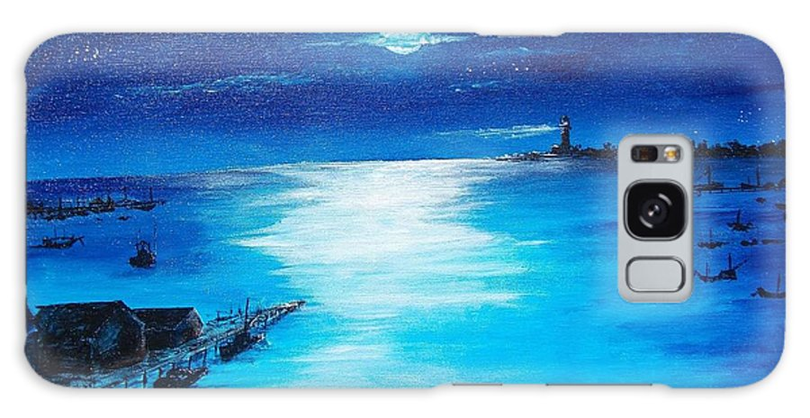 Moon Galaxy S8 Case featuring the painting Full Moon Harbor by Walter Carrick