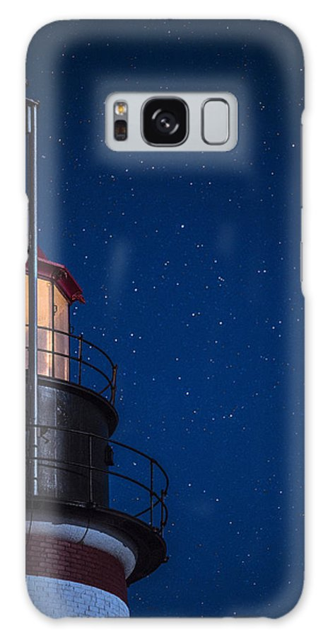 West Quoddy Head Lighthouse Galaxy S8 Case featuring the photograph Full Moon On Quoddy No 2 by Marty Saccone