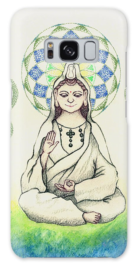 Quan Yin Galaxy S8 Case featuring the painting Fureai Quan Yin In Kyoto by Keiko Katsuta