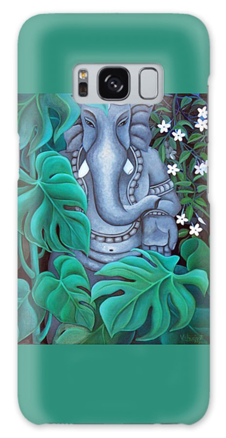 Ganesh Galaxy S8 Case featuring the painting Ganesh With Jasmine Flowers 2 by Vishwajyoti Mohrhoff