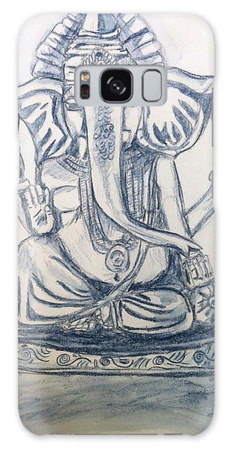 Ganesha Galaxy S8 Case featuring the drawing Ganesha In Blue by LeNae Goolsby