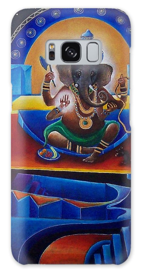 Ganesha Galaxy S8 Case featuring the painting Ganesha by Wolfgang Schweizer