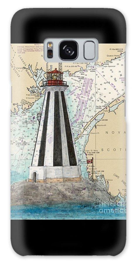 Gannet Galaxy S8 Case featuring the painting Gannet Rock Lighthouse New Brunswick Canada Nautical Chart Art by Cathy Peek