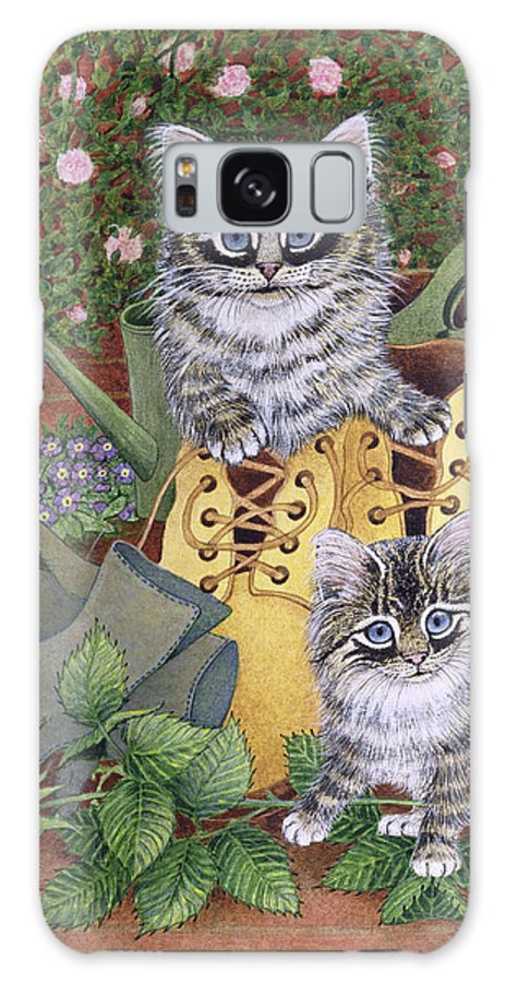 Kitten Galaxy S8 Case featuring the painting Garden Helpers by Pat Scott