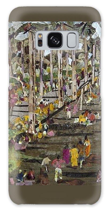 Garden Morning View Galaxy S8 Case featuring the mixed media Garden Picnic by Basant Soni