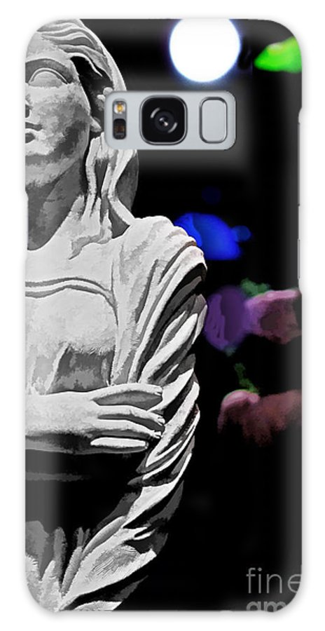 Old Galaxy S8 Case featuring the photograph Garden Statue At Night by Tom Gari Gallery-Three-Photography