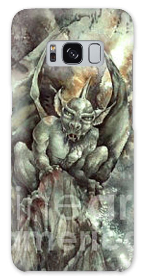 Gargoyle Galaxy S8 Case featuring the painting Gargoyle by Wendy Froshay