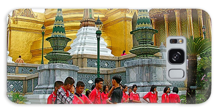 Gathering Near Pagodas Of Grand Palace Of Thailand In Bangkok Galaxy S8 Case featuring the photograph Gathering Near Pagodas Of Grand Palace Of Thailand In Bangkok by Ruth Hager