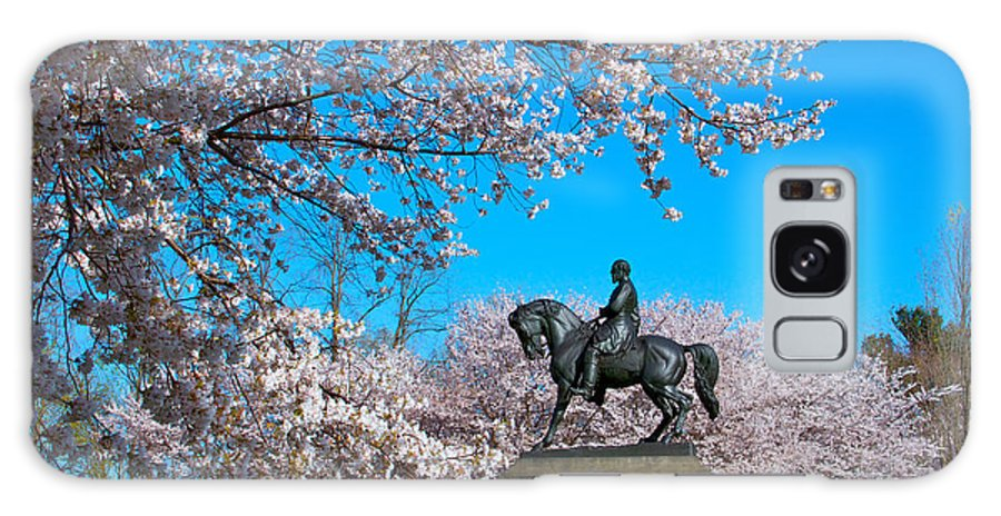 Cherry Blossoms Please Touch Museum Philadelphia Statue General Horse Galaxy S8 Case featuring the photograph General In The Cherry Blossoms by Alice Gipson