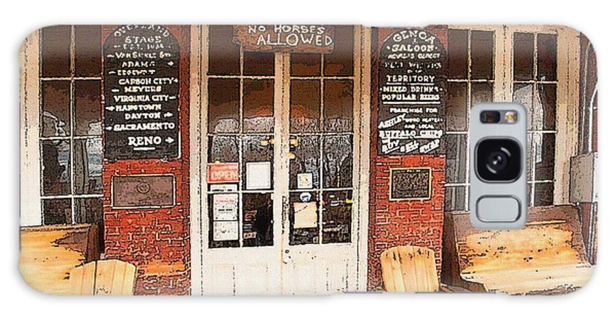 Genoa Saloon Galaxy S8 Case featuring the digital art Genoa Saloon Oldest Saloon In Nevada by Artist and Photographer Laura Wrede