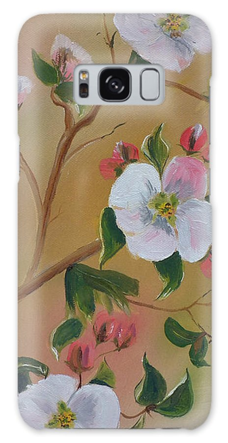 Flowers Galaxy S8 Case featuring the painting Georgia Flowers - Apple Blossoms- Stretched by Jan Dappen