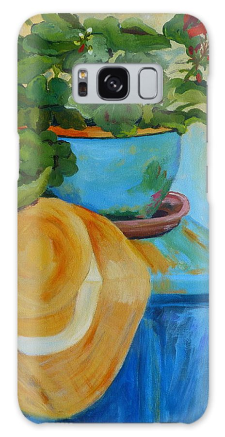 Still Life Galaxy S8 Case featuring the painting Geraniums And A Hat by Deborah Carroll