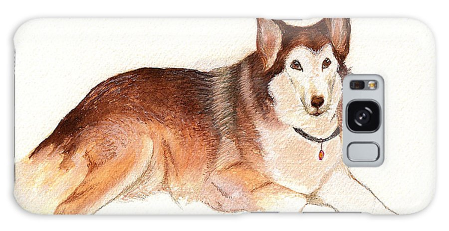 Dog Portraits Galaxy Case featuring the painting German Shepherd Dog by Nan Wright