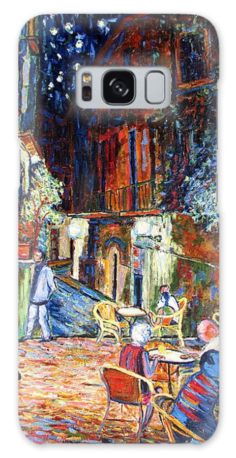 Impressionsist Spain Cafe Night Stars Van Gogh Galaxy S8 Case featuring the painting Gerona by Rob White