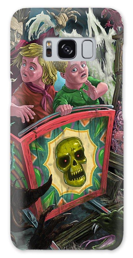 Fun Fair Ride Galaxy S8 Case featuring the painting Ghost Train Fun Fair Kids by Martin Davey