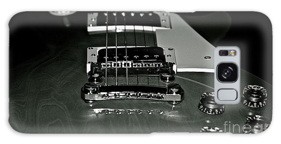 Les Paul Galaxy S8 Case featuring the photograph Black And White Les Paul by Lisa Telquist