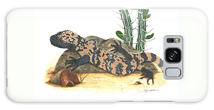 Gila Monster Galaxy S8 Case featuring the painting Gila Monster by Cindy Hitchcock
