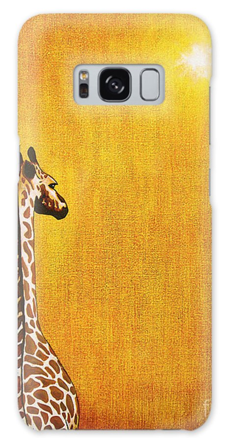 Giraffe Galaxy S8 Case featuring the painting Giraffe Looking Back by Jerome Stumphauzer