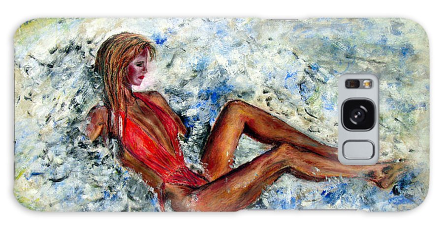 Girl Galaxy Case featuring the painting Girl In A Red Swimsuit by Tom Conway