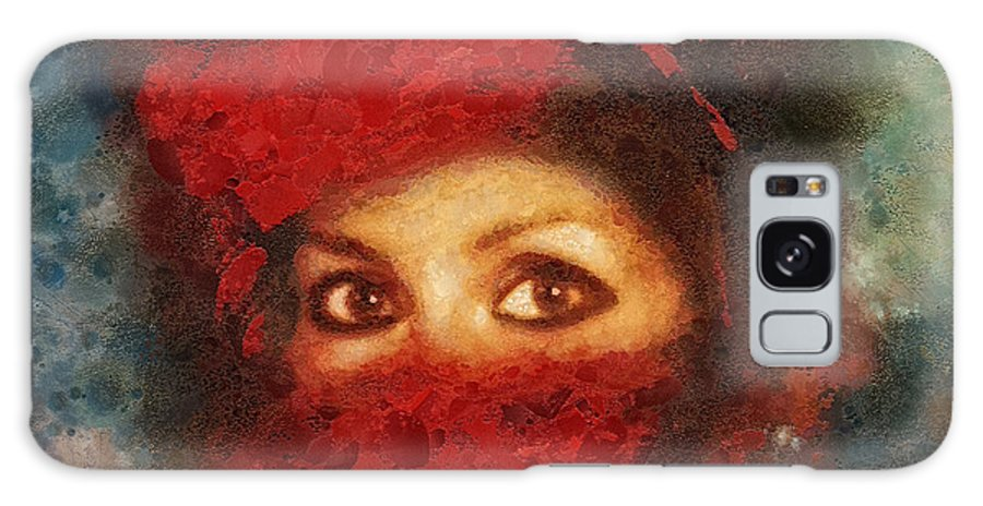 Girl In Red Turban Galaxy S8 Case featuring the painting Girl In Red Turban by Mo T