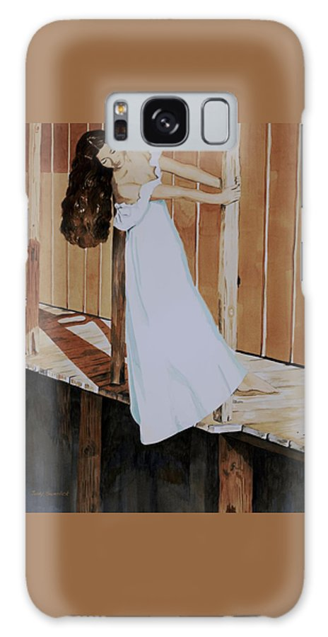 Girl On Dock Galaxy S8 Case featuring the painting Girl On Dock by Judy Swerlick