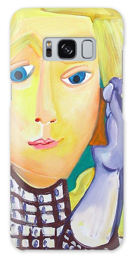 Painting Galaxy S8 Case featuring the painting Girl Talking On Her Mobile by Annelies Van Biesbergen