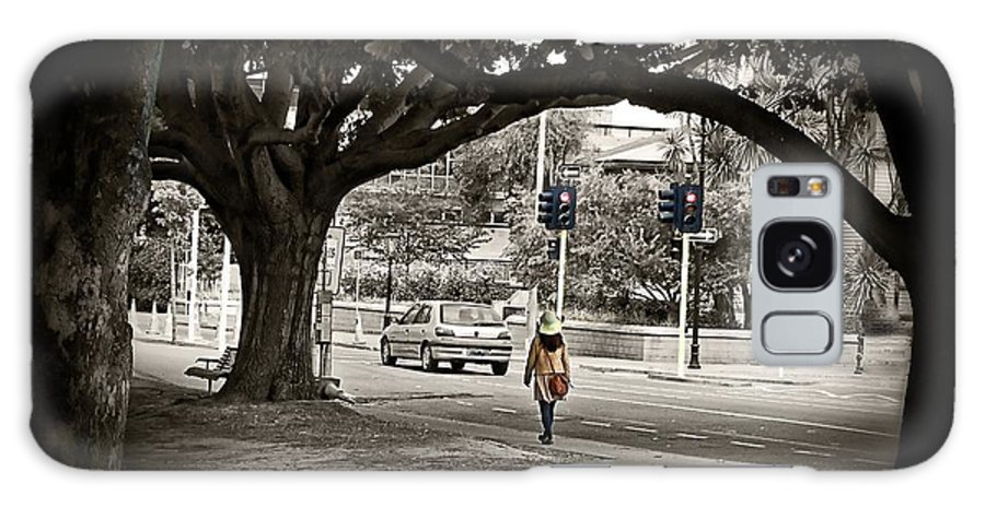 Orange Galaxy S8 Case featuring the photograph Girl Walk In Park. by Willinda Swart