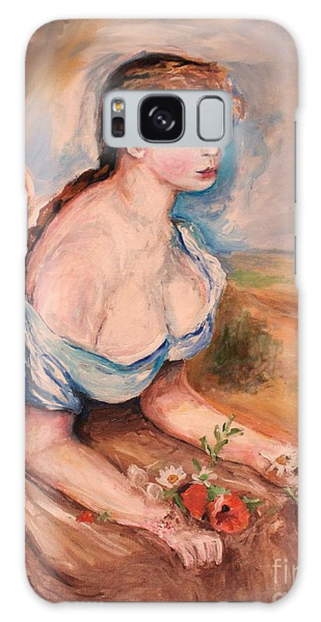 Blue Galaxy S8 Case featuring the painting Girl With Dasies by Eric Schiabor