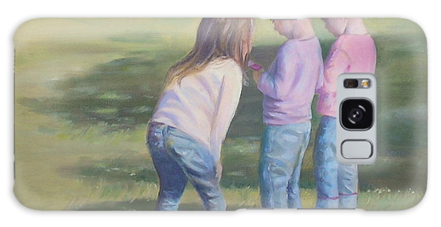 Children Galaxy S8 Case featuring the painting Girls Texting by Susan Bradbury