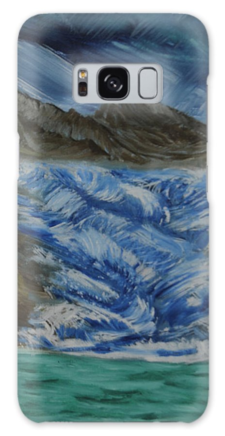 Glacier Galaxy S8 Case featuring the painting Glacier To Ocean by Suzanne Surber