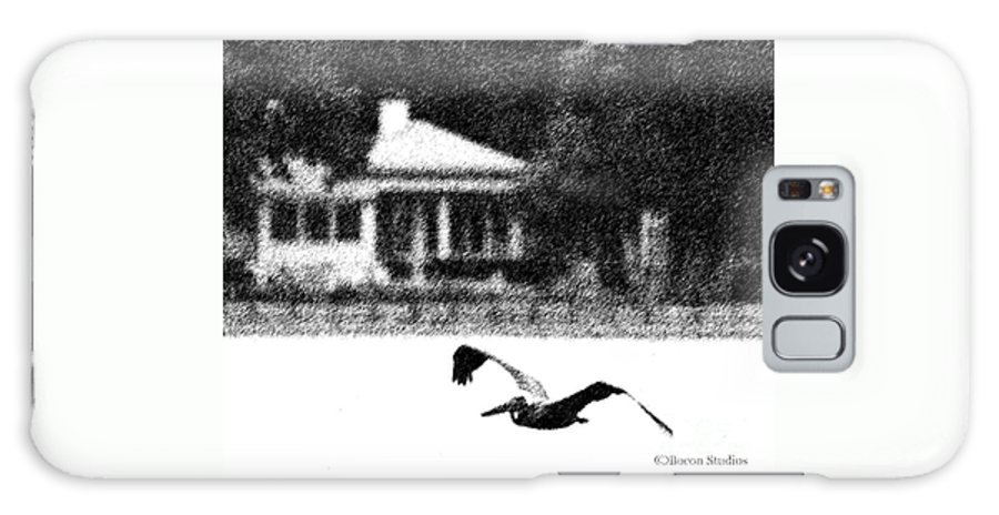 Black And White Galaxy S8 Case featuring the photograph The Gliding Pelican by R A Golden