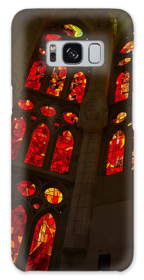 Glorious Galaxy S8 Case featuring the photograph Glorious Reds And Yellows - Sagrada Familia Stained Glass Windows by Georgia Mizuleva