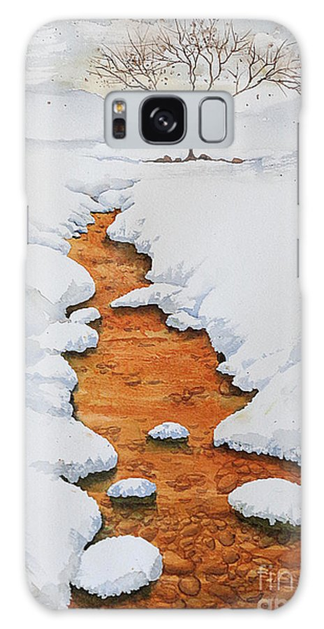 Landscapes Galaxy S8 Case featuring the painting Glow In The Snow by Marisa Gabetta