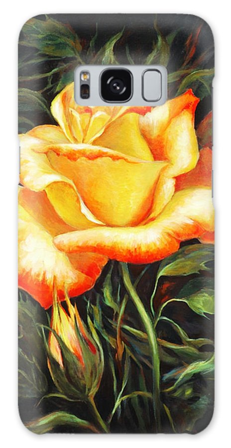 Rose Galaxy Case featuring the painting Glowing Rose 2 by Ekaterina Mortensen
