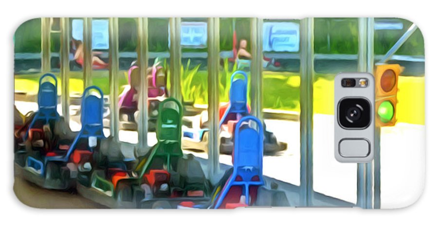 Go-karts Galaxy S8 Case featuring the painting Go-karts by Jeelan Clark