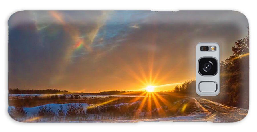 Sun Star Galaxy S8 Case featuring the photograph Gold Hour Sun Star In Winter by Beth Sawickie