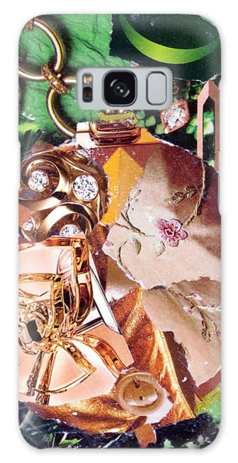 Torn Paper Collage Galaxy S8 Case featuring the painting Gold Ornament by Suzy Pal Powell