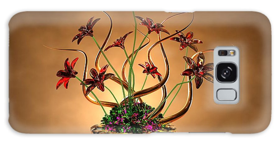 Gold Galaxy S8 Case featuring the digital art Gold Spirals Glass Flowers by Louis Ferreira