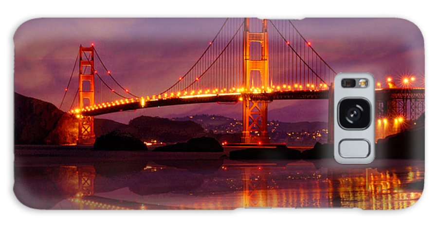 Golden Galaxy S8 Case featuring the photograph Golden Gate At Bakers Beach by Christine Holding