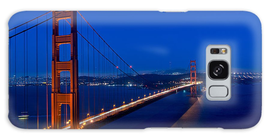 Golden Galaxy S8 Case featuring the photograph Golden Gate Bridge At Dusk In San Francisco by Carol M Highsmith