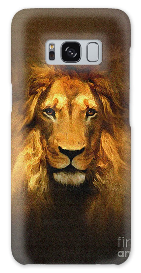 Lion Galaxy S8 Case featuring the painting Golden King Lion by Robert Foster